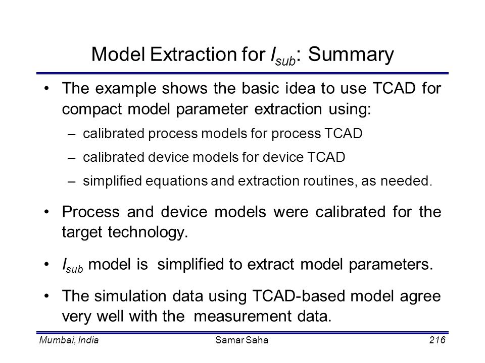Model Extraction for Isub: Summary