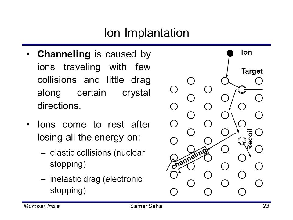Ion Implantation Channeling is caused by ions traveling with few collisions and little drag along certain crystal directions.