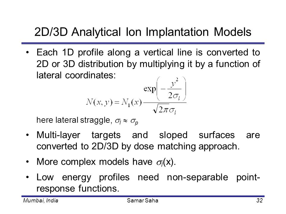 2D/3D Analytical Ion Implantation Models