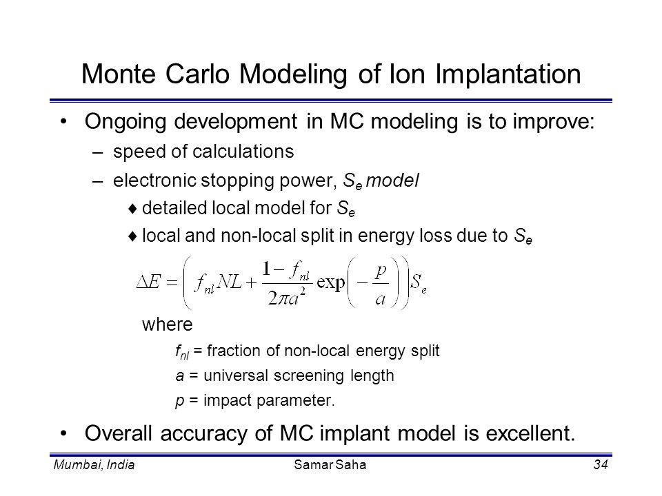 Monte Carlo Modeling of Ion Implantation