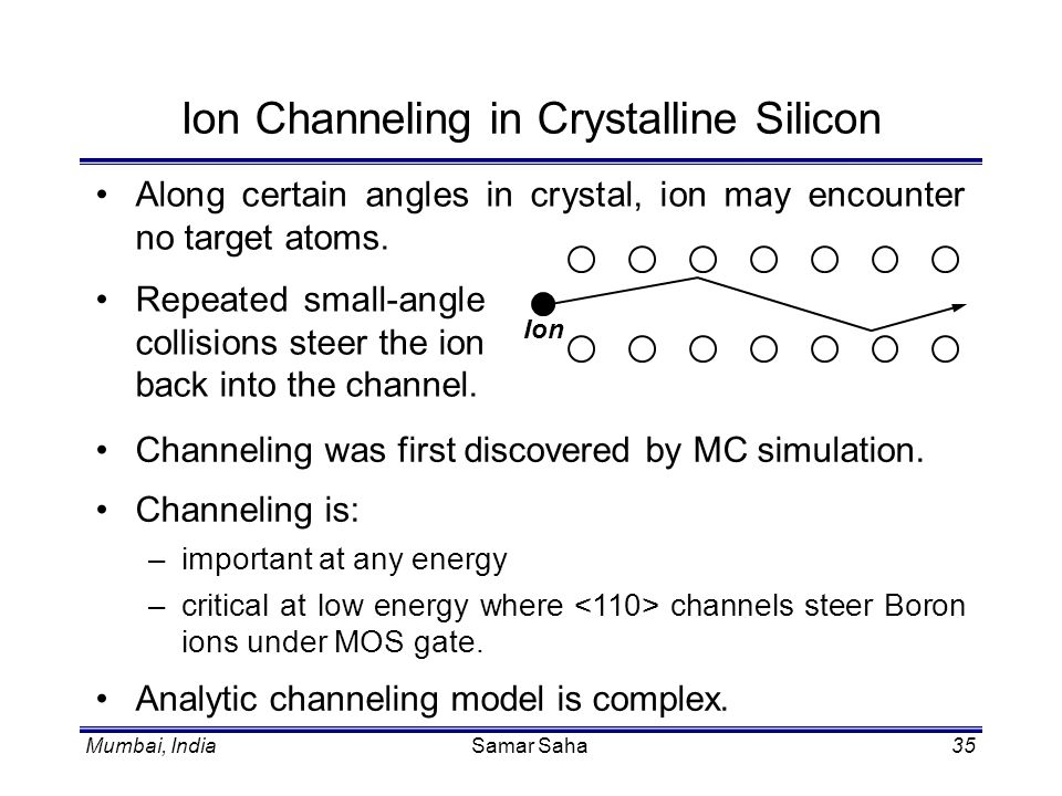 Ion Channeling in Crystalline Silicon