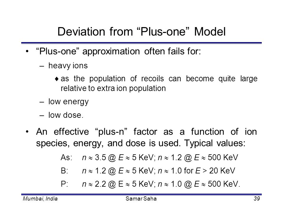 Deviation from Plus-one Model