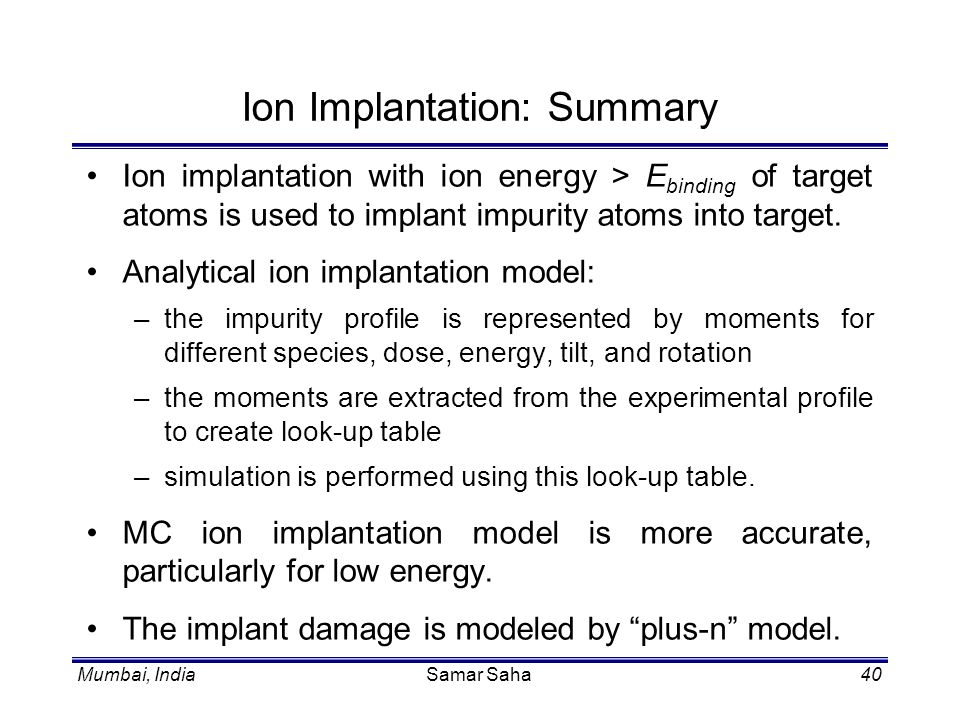 Ion Implantation: Summary