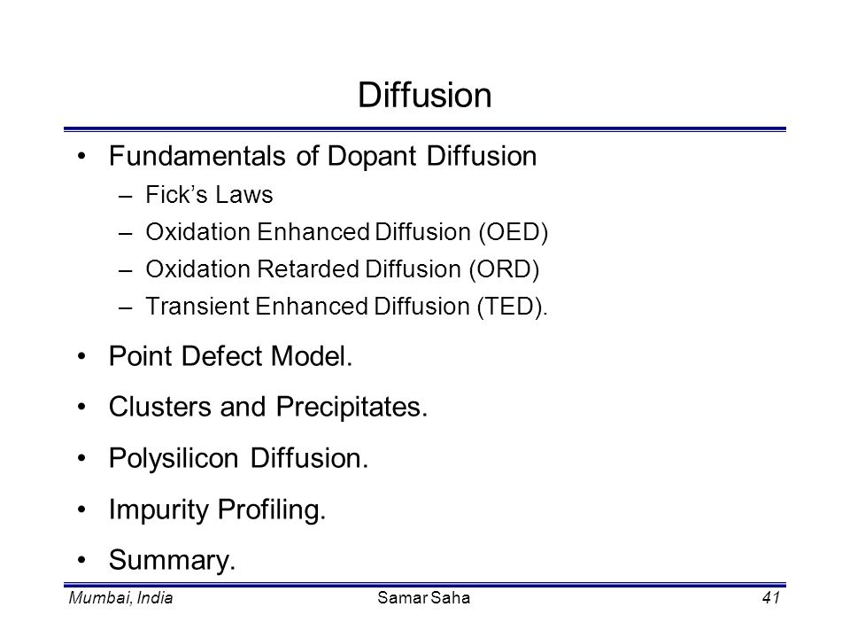 Diffusion Fundamentals of Dopant Diffusion Point Defect Model.