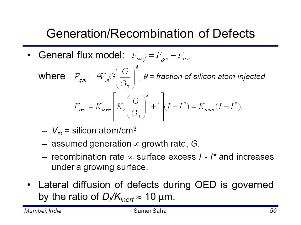 Generation/Recombination of Defects