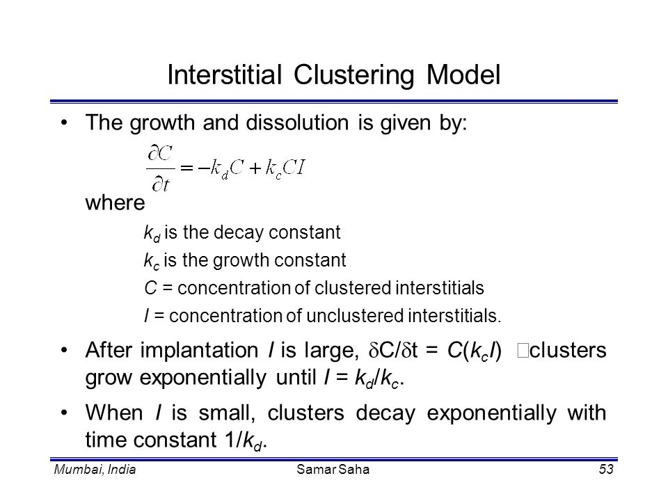 Interstitial Clustering Model