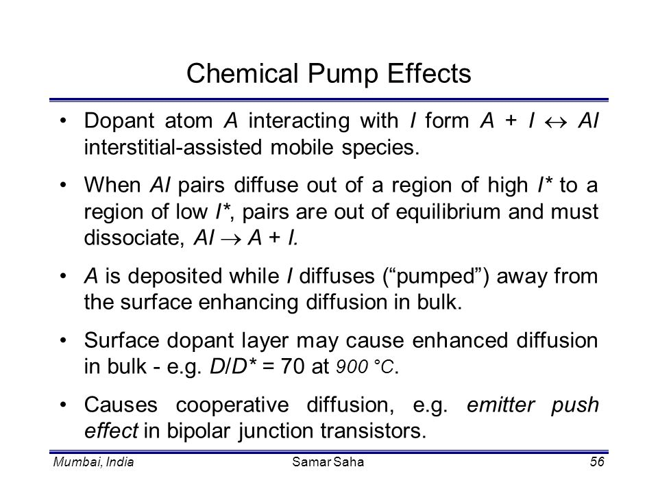 Chemical Pump Effects Dopant atom A interacting with I form A + I « AI interstitial-assisted mobile species.