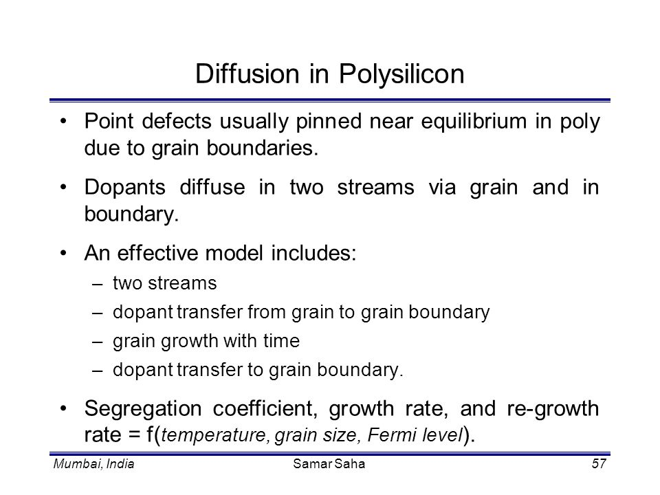 Diffusion in Polysilicon