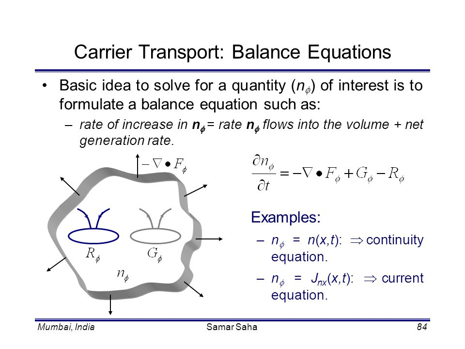 Carrier Transport: Balance Equations