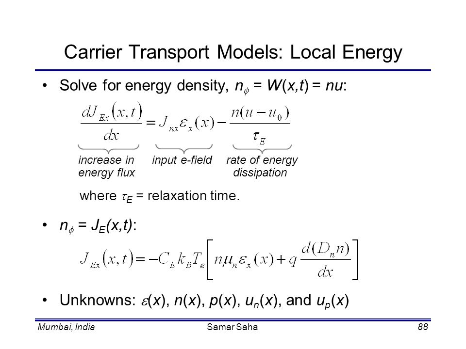 Carrier Transport Models: Local Energy