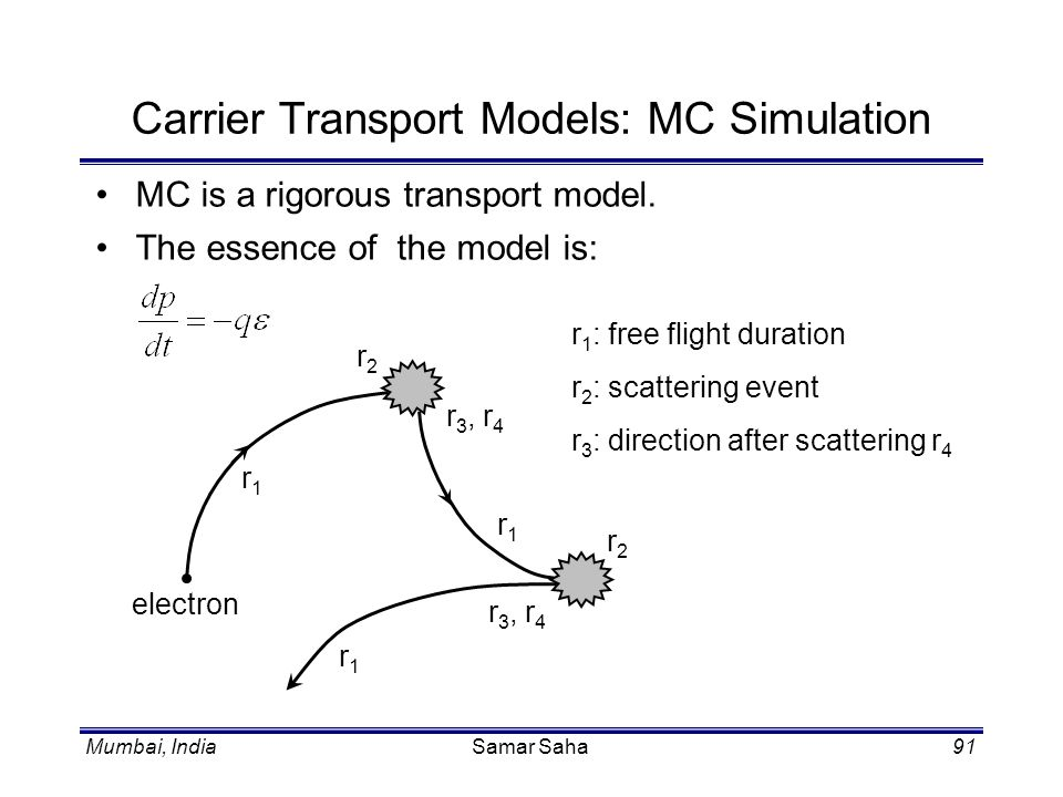 Carrier Transport Models: MC Simulation