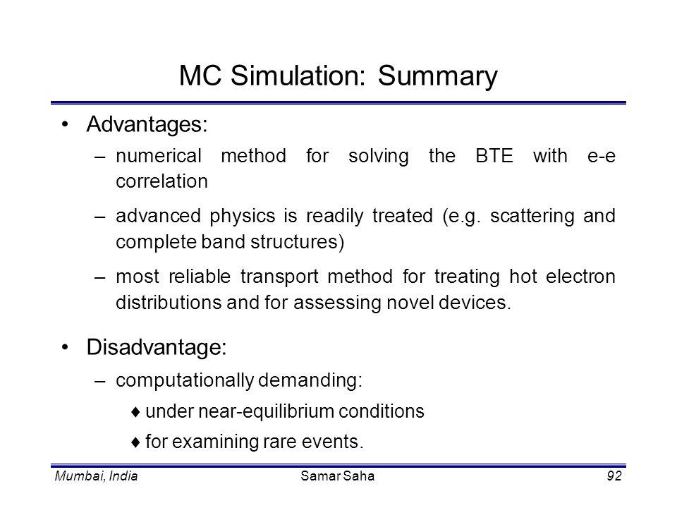 MC Simulation: Summary
