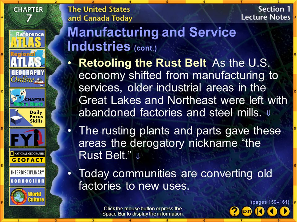 Manufacturing and Service Industries (cont.)