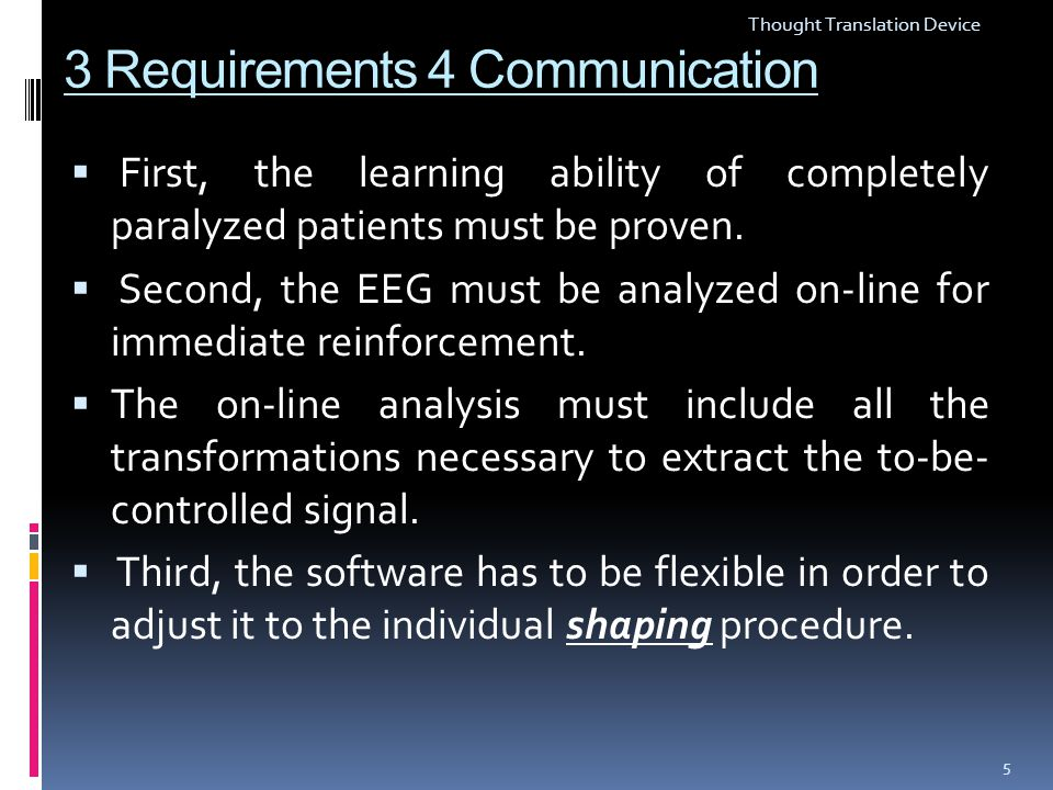 3 Requirements 4 Communication