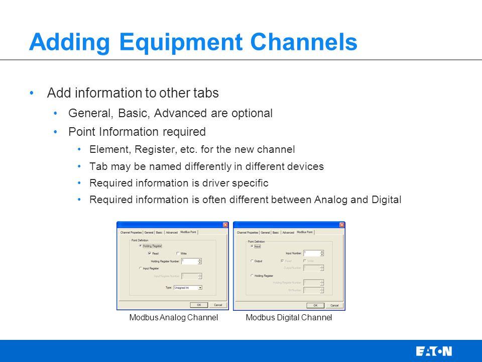 Adding Equipment Channels