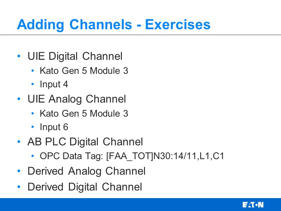 Adding Channels - Exercises
