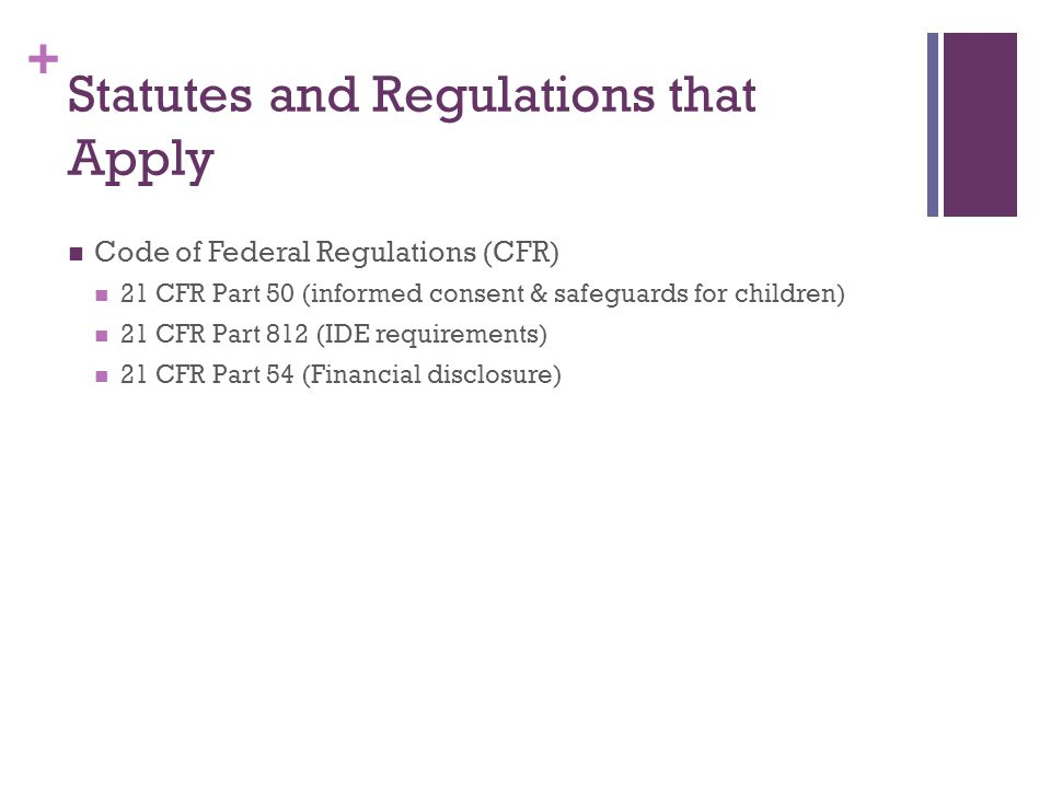 Statutes and Regulations that Apply