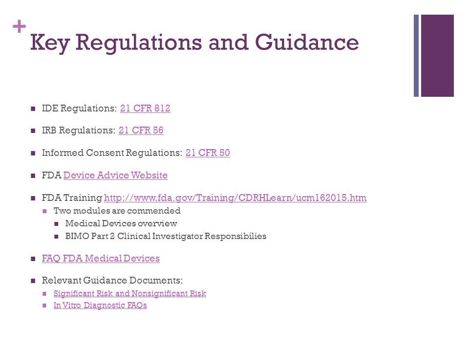 Key Regulations and Guidance
