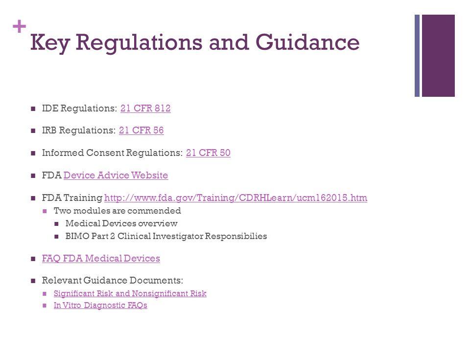 Key Regulations and Guidance