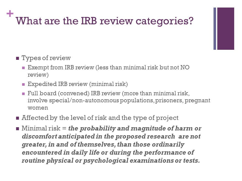 What are the IRB review categories