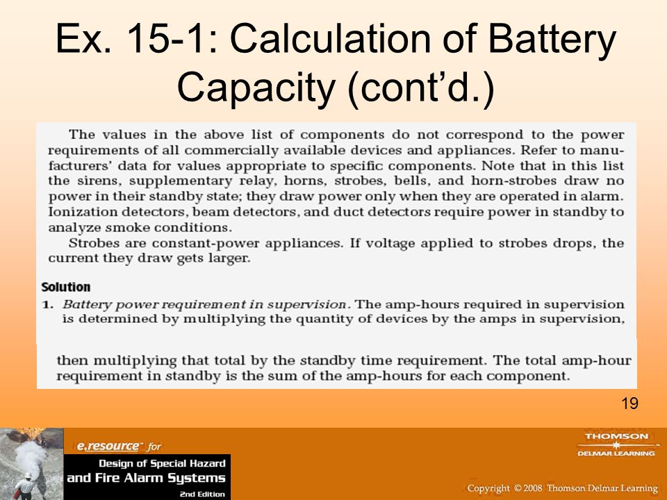 Ex. 15-1: Calculation of Battery Capacity (cont'd.)