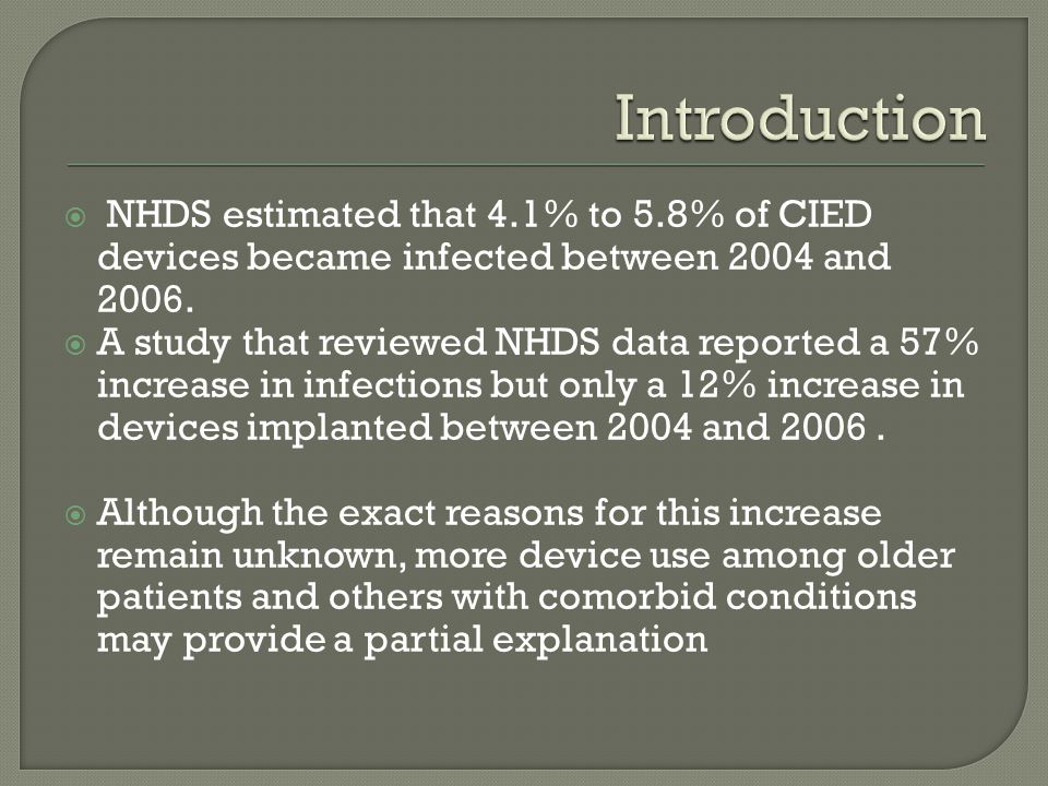 Introduction NHDS estimated that 4.1% to 5.8% of CIED devices became infected between 2004 and 2006.