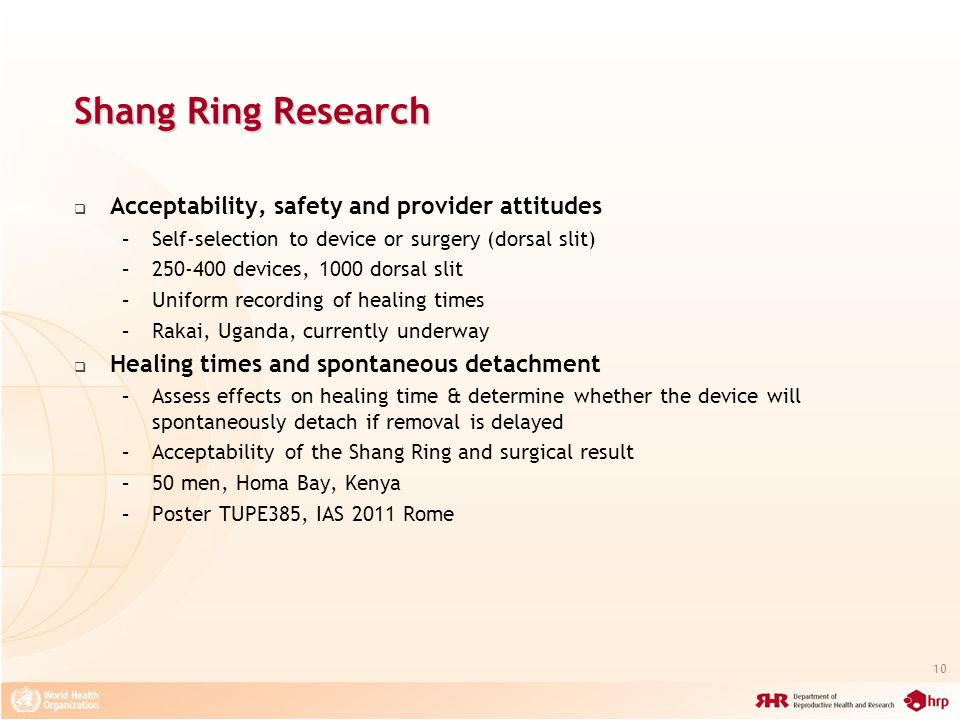 Shang Ring Research Acceptability, safety and provider attitudes