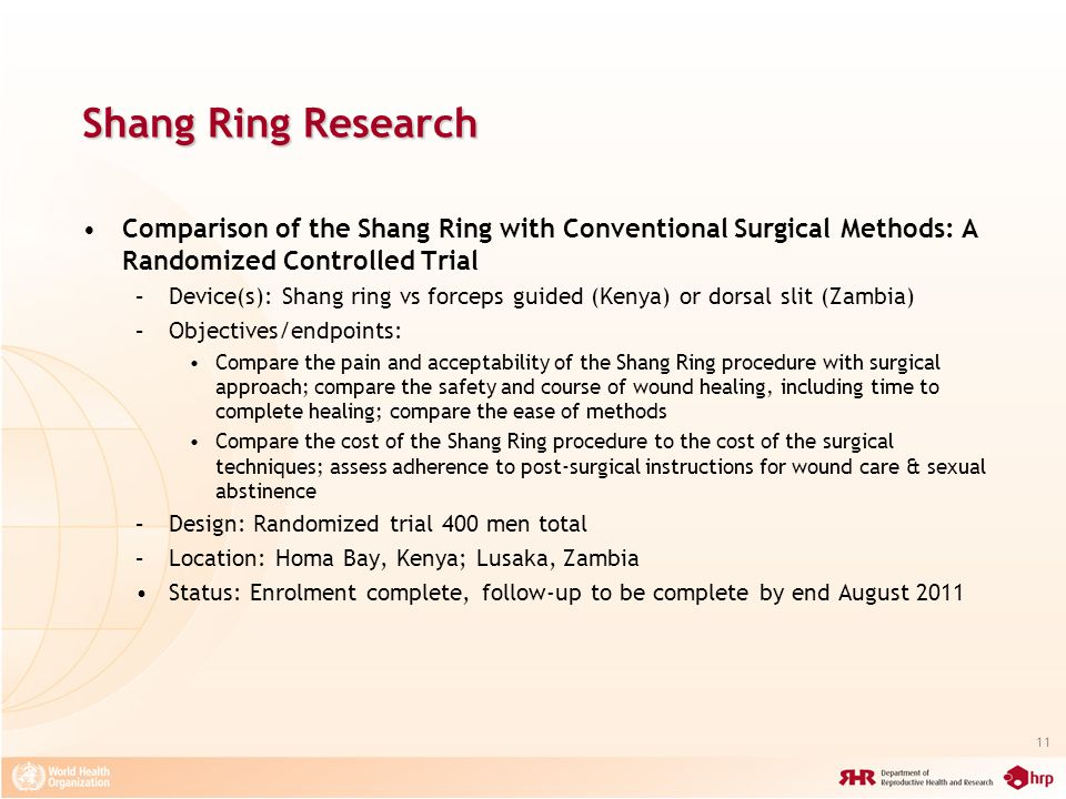 Shang Ring Research Comparison of the Shang Ring with Conventional Surgical Methods: A Randomized Controlled Trial.