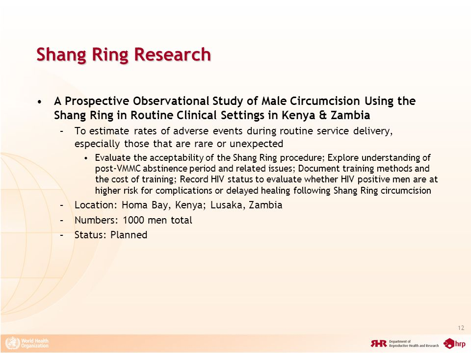 Shang Ring Research A Prospective Observational Study of Male Circumcision Using the Shang Ring in Routine Clinical Settings in Kenya & Zambia.