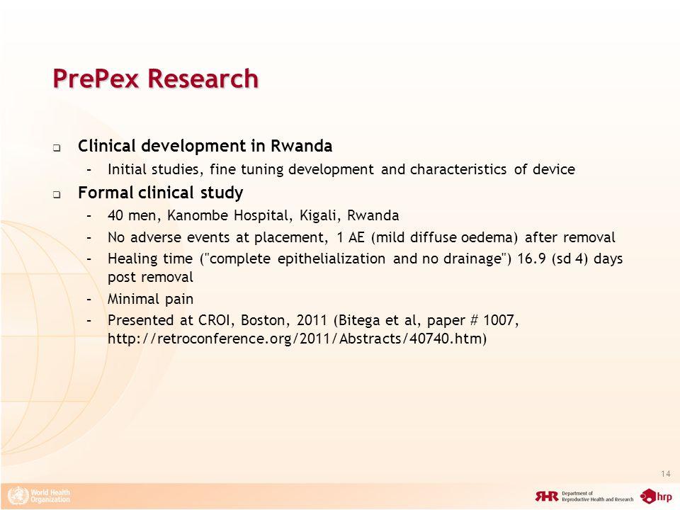 PrePex Research Clinical development in Rwanda Formal clinical study