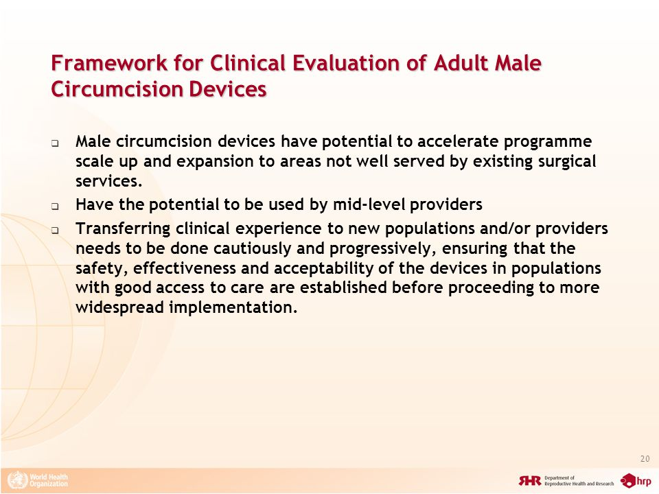 Framework for Clinical Evaluation of Adult Male Circumcision Devices