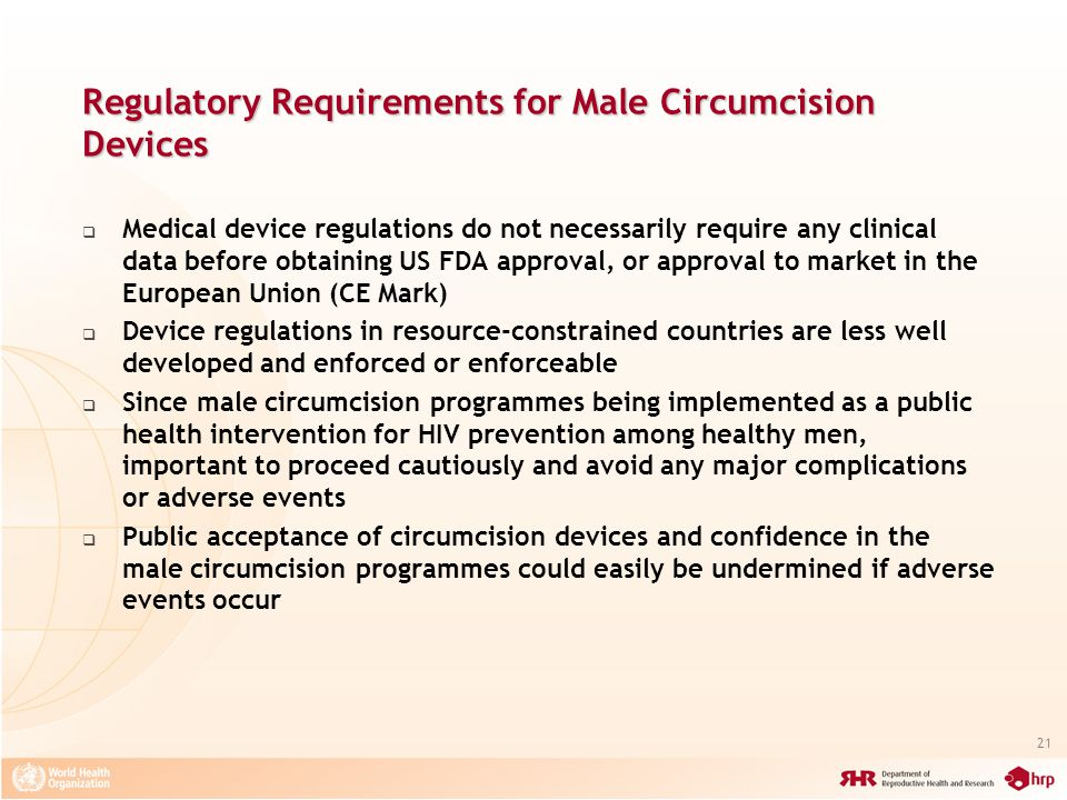 Regulatory Requirements for Male Circumcision Devices