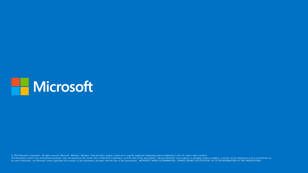 © 2013 Microsoft Corporation. All rights reserved