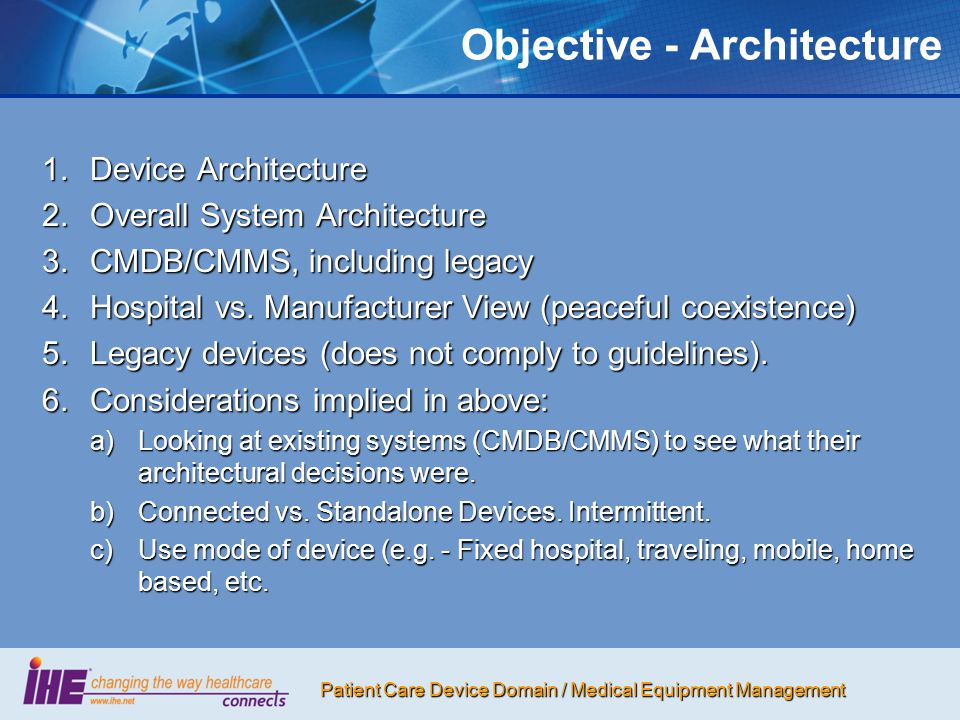 Objective - Architecture