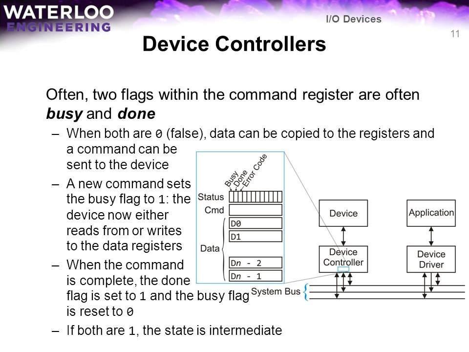 I/O Devices Device Controllers. Often, two flags within the command register are often busy and done.