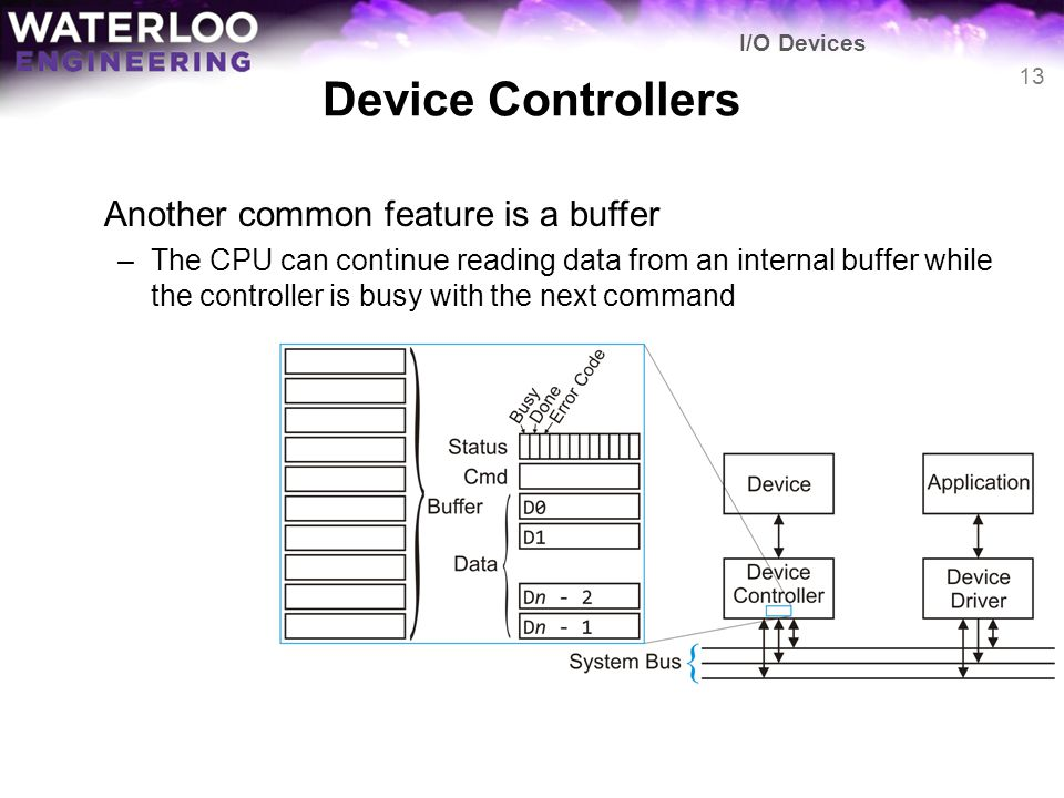Device Controllers Another common feature is a buffer