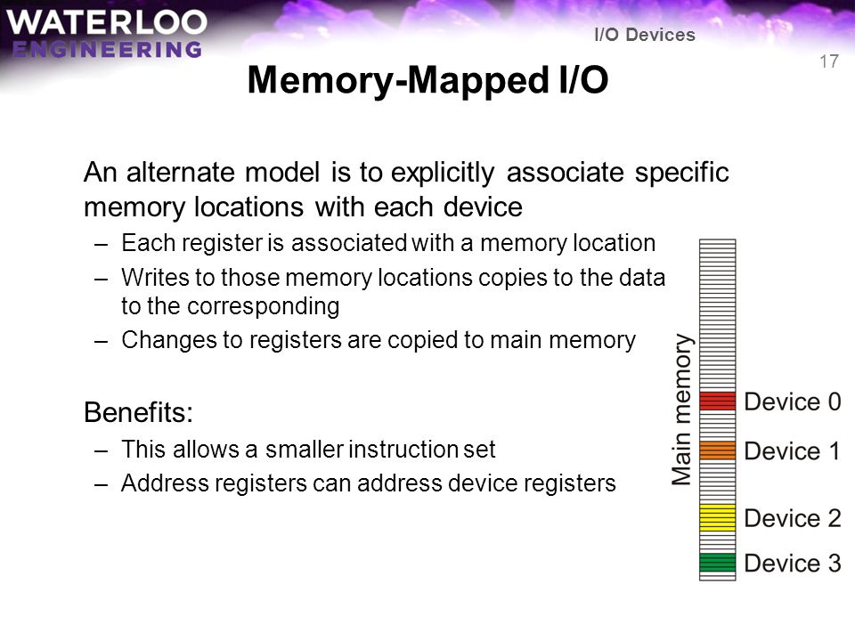 I/O Devices Memory-Mapped I/O. An alternate model is to explicitly associate specific memory locations with each device.