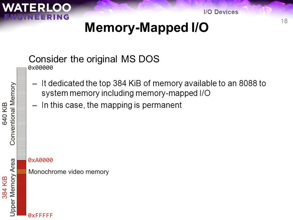 Memory-Mapped I/O Consider the original MS DOS
