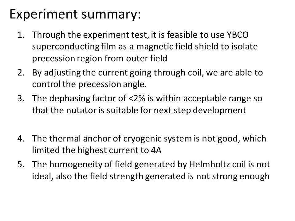 Experiment summary: