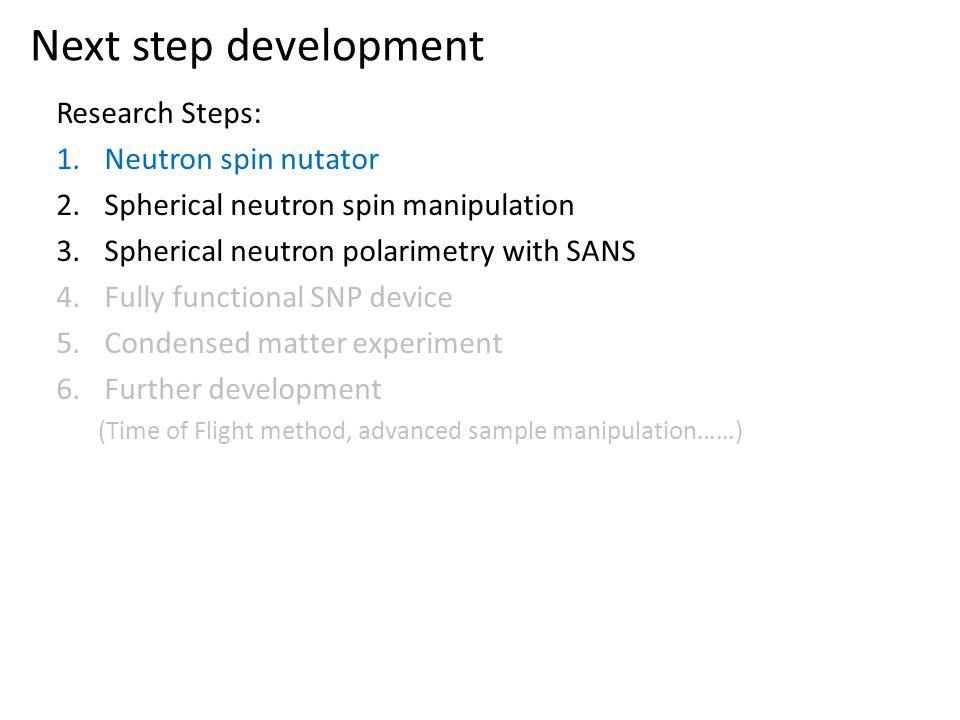 Next step development Research Steps: Neutron spin nutator
