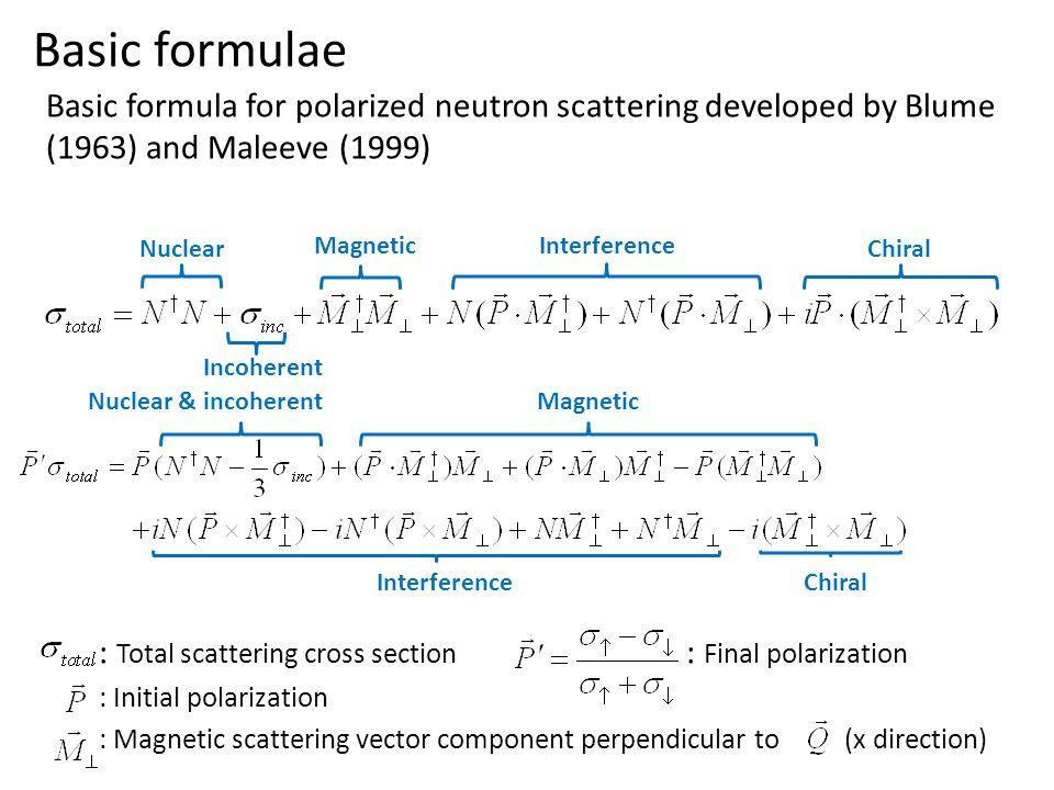 Basic formulae Basic formula for polarized neutron scattering developed by Blume (1963) and Maleeve (1999)