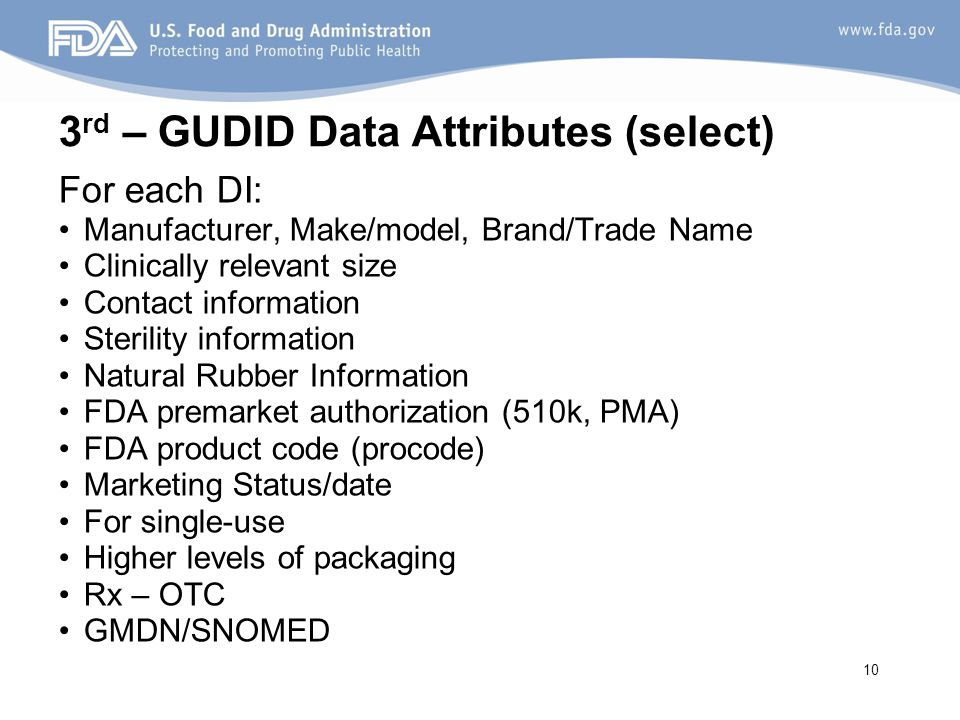 3rd – GUDID Data Attributes (select)