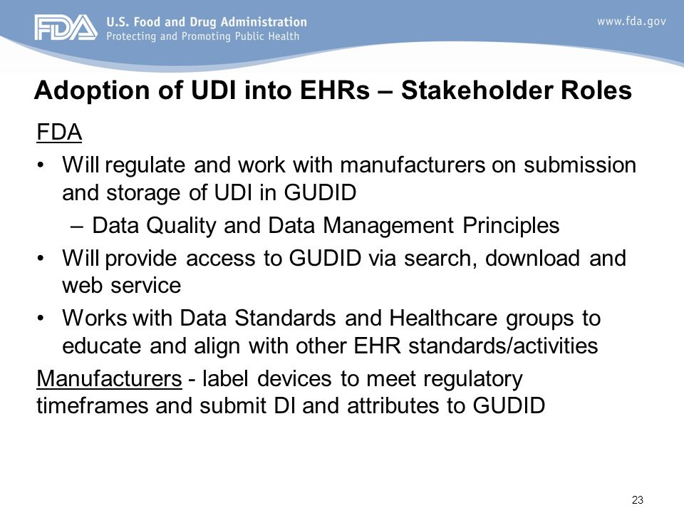 Adoption of UDI into EHRs – Stakeholder Roles