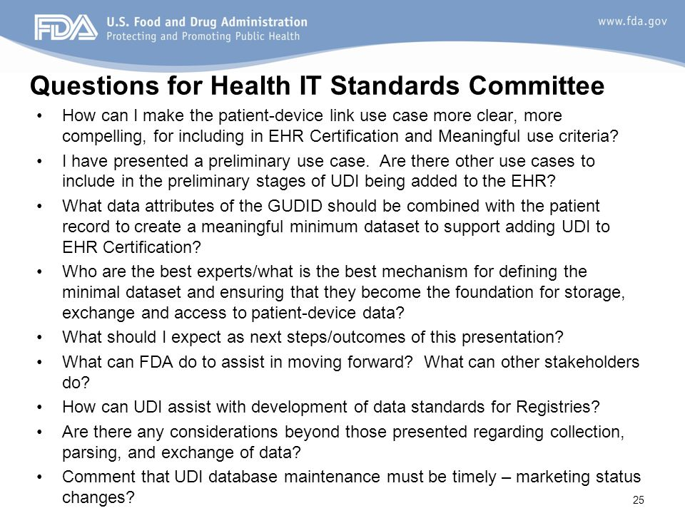 Questions for Health IT Standards Committee