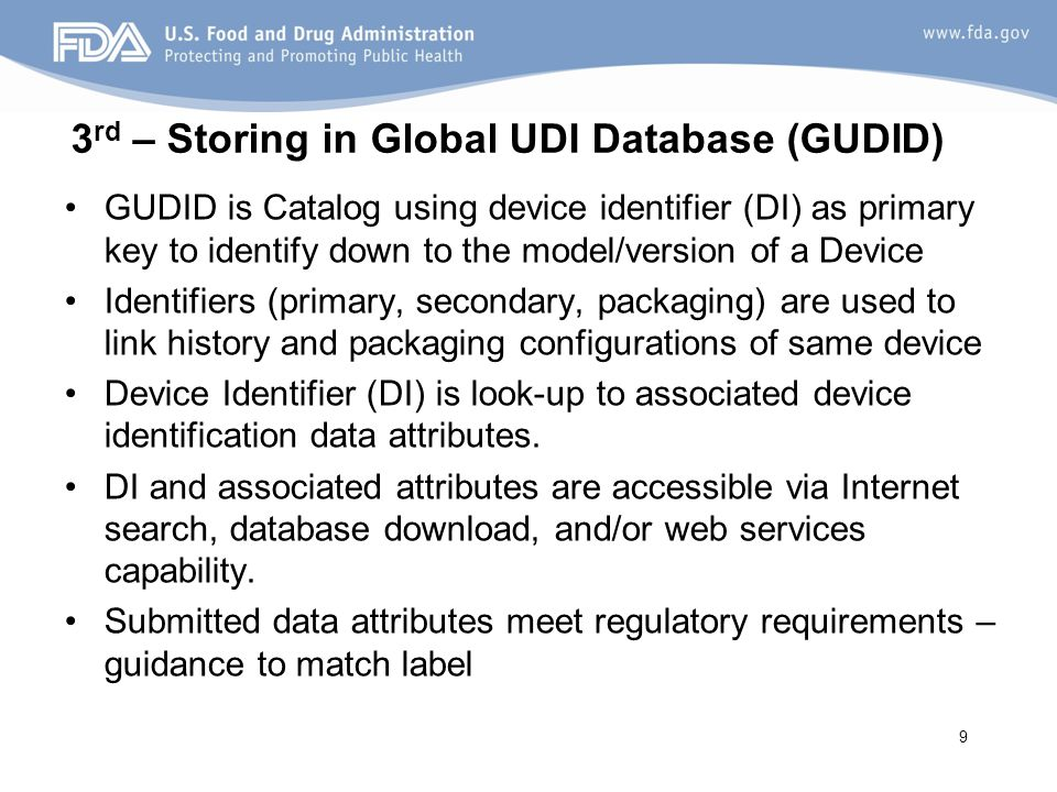 3rd – Storing in Global UDI Database (GUDID)
