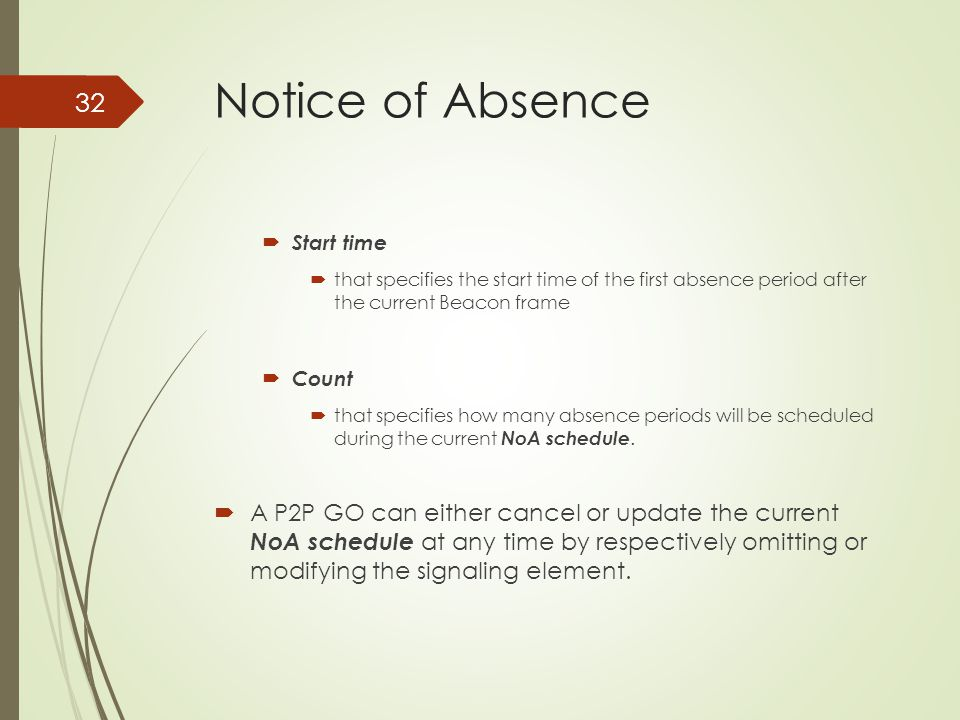 Notice of Absence Start time. that specifies the start time of the first absence period after the current Beacon frame.