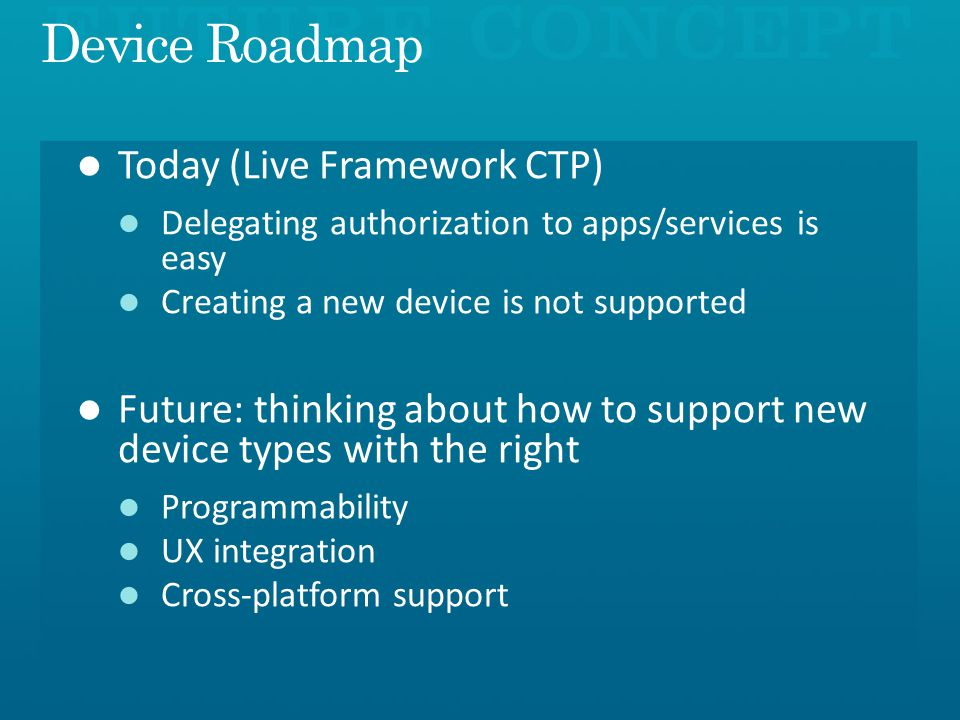 Device Roadmap Today (Live Framework CTP)