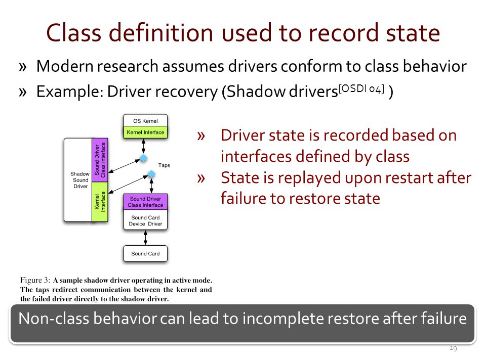 Class definition used to record state