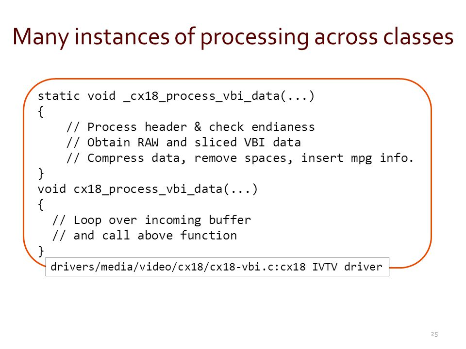 Many instances of processing across classes