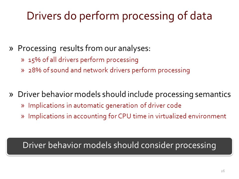 Drivers do perform processing of data